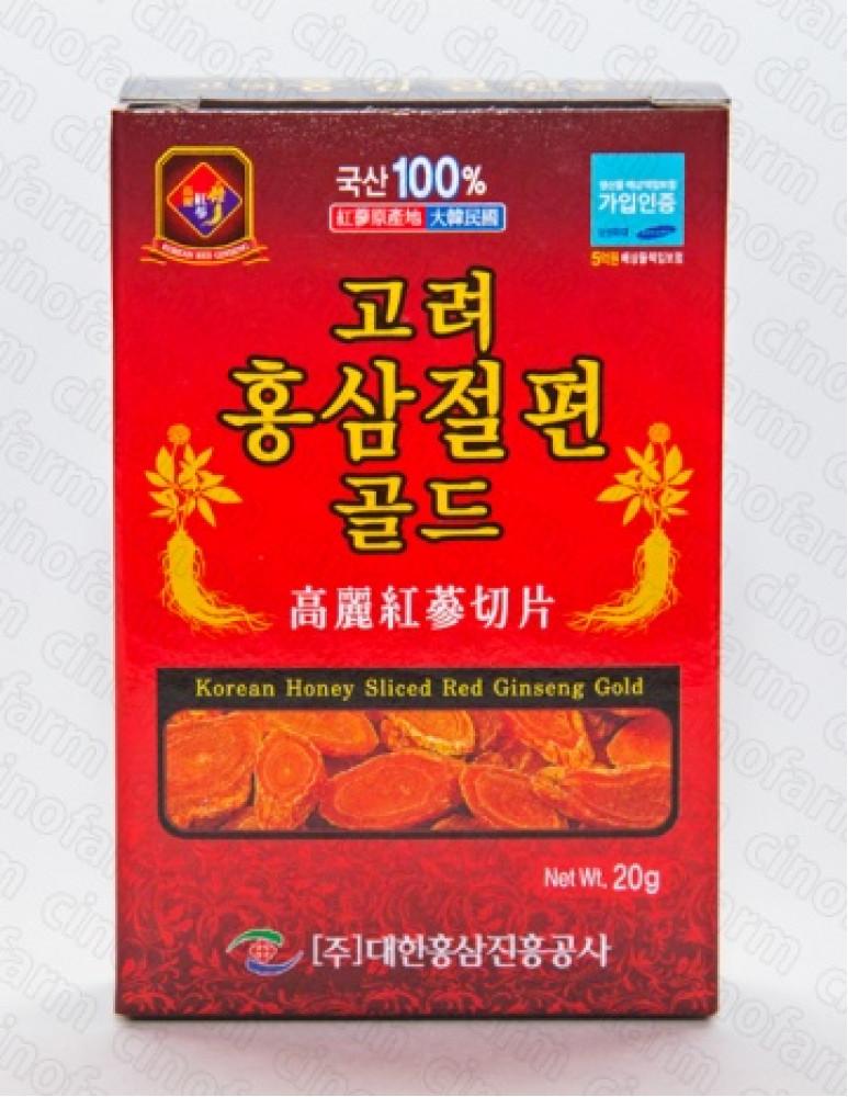 Красный корейский женьшень на меду, слайсы GOLD,медовые цукаты,женьшень 70%мёд 25%, 20 г