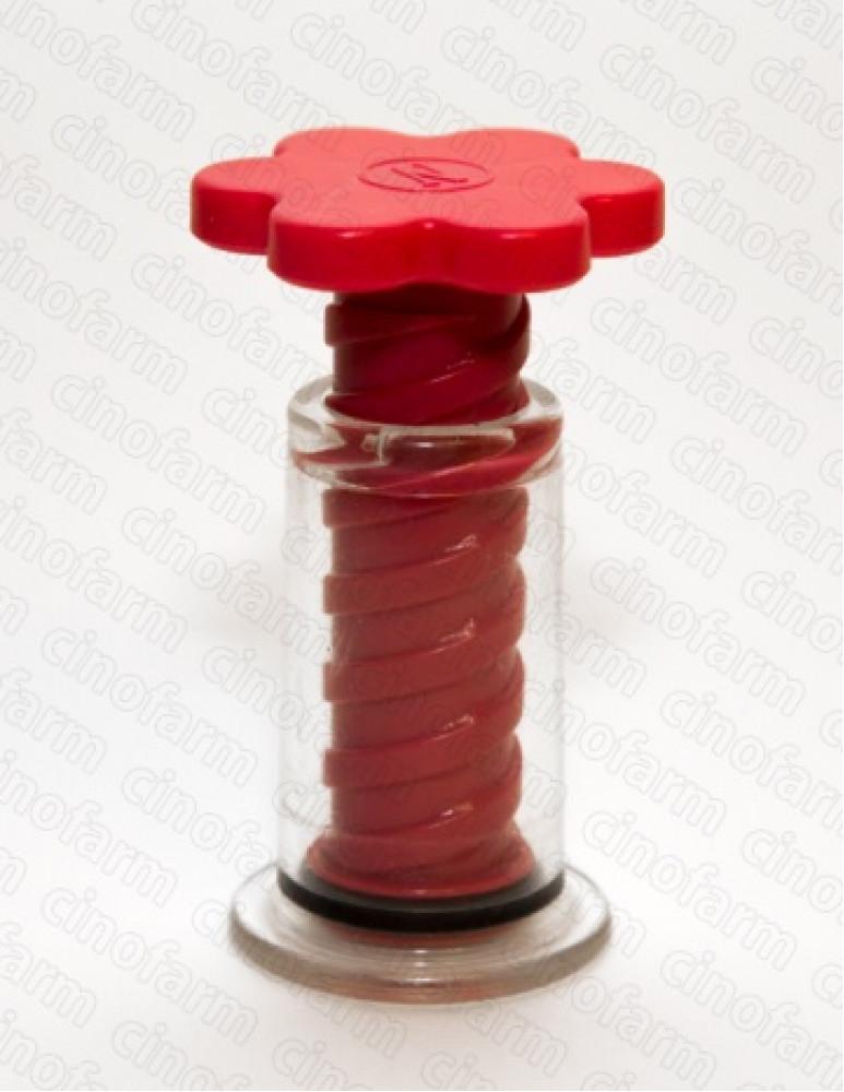 Банка массажная с винтом Красная Цветок диаметр основания 25 мм