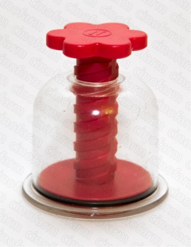 Банка массажная с винтом Красная Цветок диаметр основания 55 мм